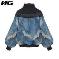 [HG] Europe Fashion New Women 2019 Spring Summer Turtleneck Full Sleeve Loose Print Animal Patchwork Casual Sweatshirt ZLL2882