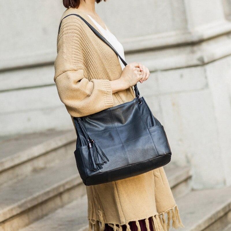 Новинка 2019, модная женская сумка мессенджер на плечо, черная, красная кожа, кожзам, клатч для покупок, Повседневная сумка на молнии, сумки - 4