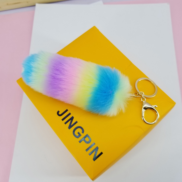 Rainbow Cauda Fofo Bolas Chaveiro Colorido Listrado Long Tail Chaveiro Pingentes Decoração para Sacos de Jóias Ornamentos Brinquedos Do Bebê