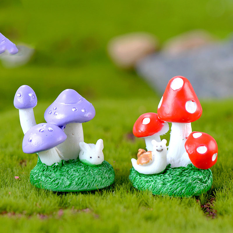 Animal Mushroom Bush Moss Micro Landscape Figurine Crafts Russia Figure Ornament Miniatures Home Garden DIY Decoration