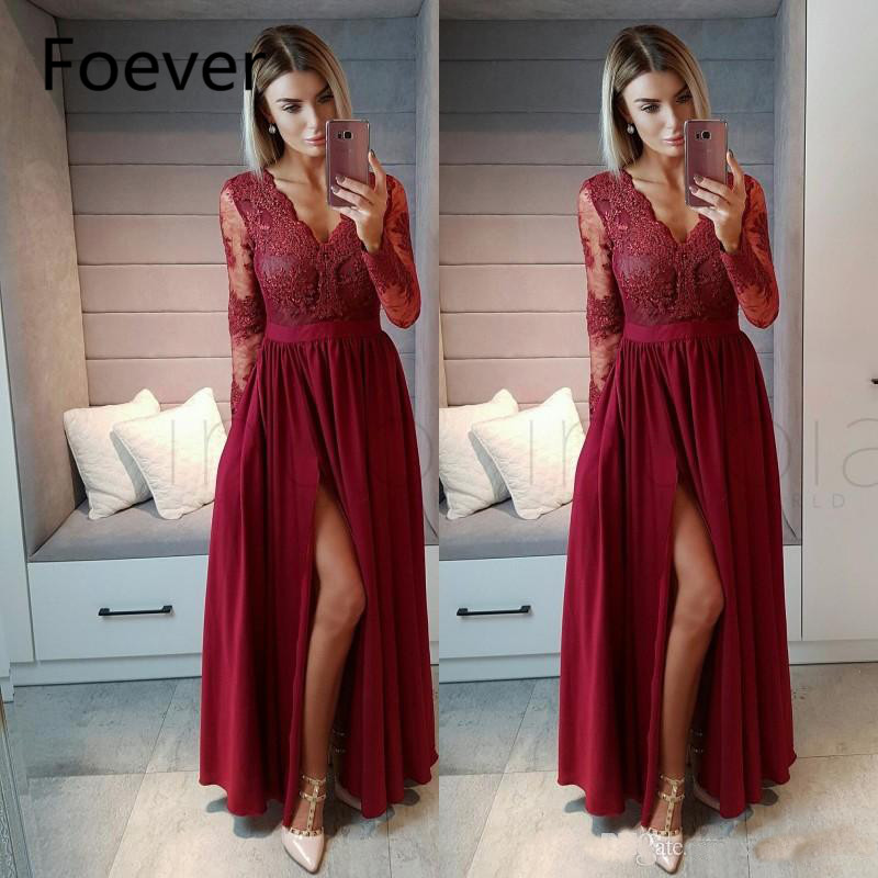 Burgundy Long Sleeve   Evening     Dresses   Long 2019 abiye gece elbisesi A Line Side Split abendkleider Chiffon Formal Prom   Dress