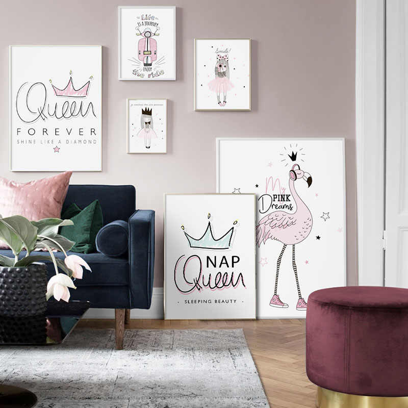 Pink Flamingo Girl Princess Queen Crown Canvas Posters And Prints Nursery Cartoon Wall Art Nordic Painting For Kids Room Decor