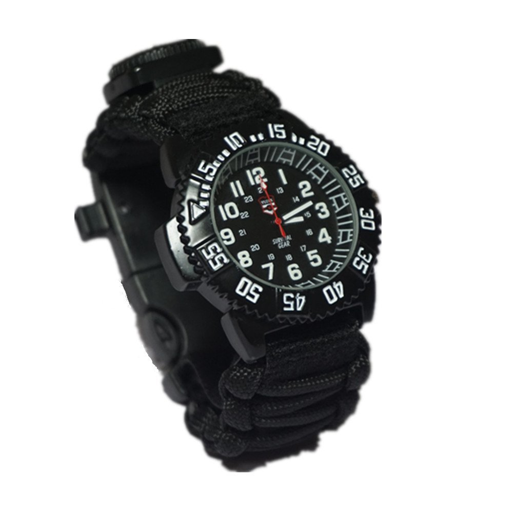 EDC GEAR multi Outdoor Camping survival bracelet watch compass Rescue Rope paracord equipment Tools kit(China)
