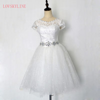 Free Shipping Customized Cheap Short Chiffion Bridesmaid Dresses 2017 Plus Size Crystal White Fromal Dress Vestidos