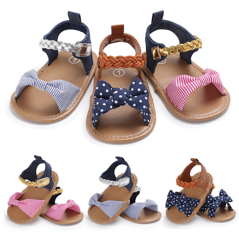 2018 Newborn Kid Baby Girl Bow-Knot Shoes Summer Canvas Sandals Summer Casual Crib Shoes Bow Casual Sandals