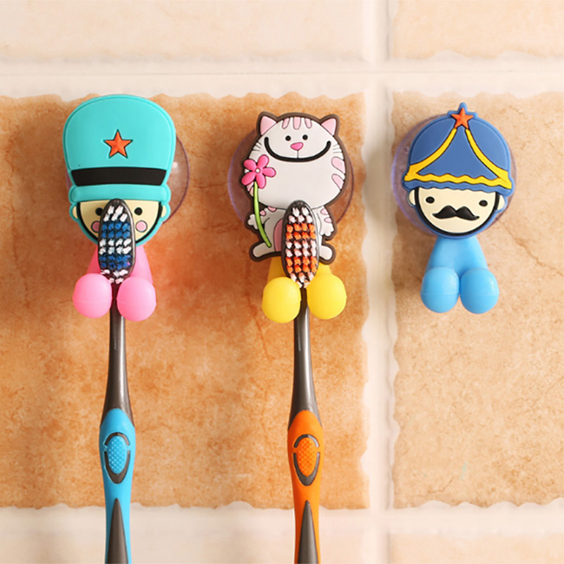 Creative Multifunction Bathroom Toothbrush Holder Suction Cups Hook Cute Cartoon Vacuum Strong Sucker Toothbrush Cover Hanger image