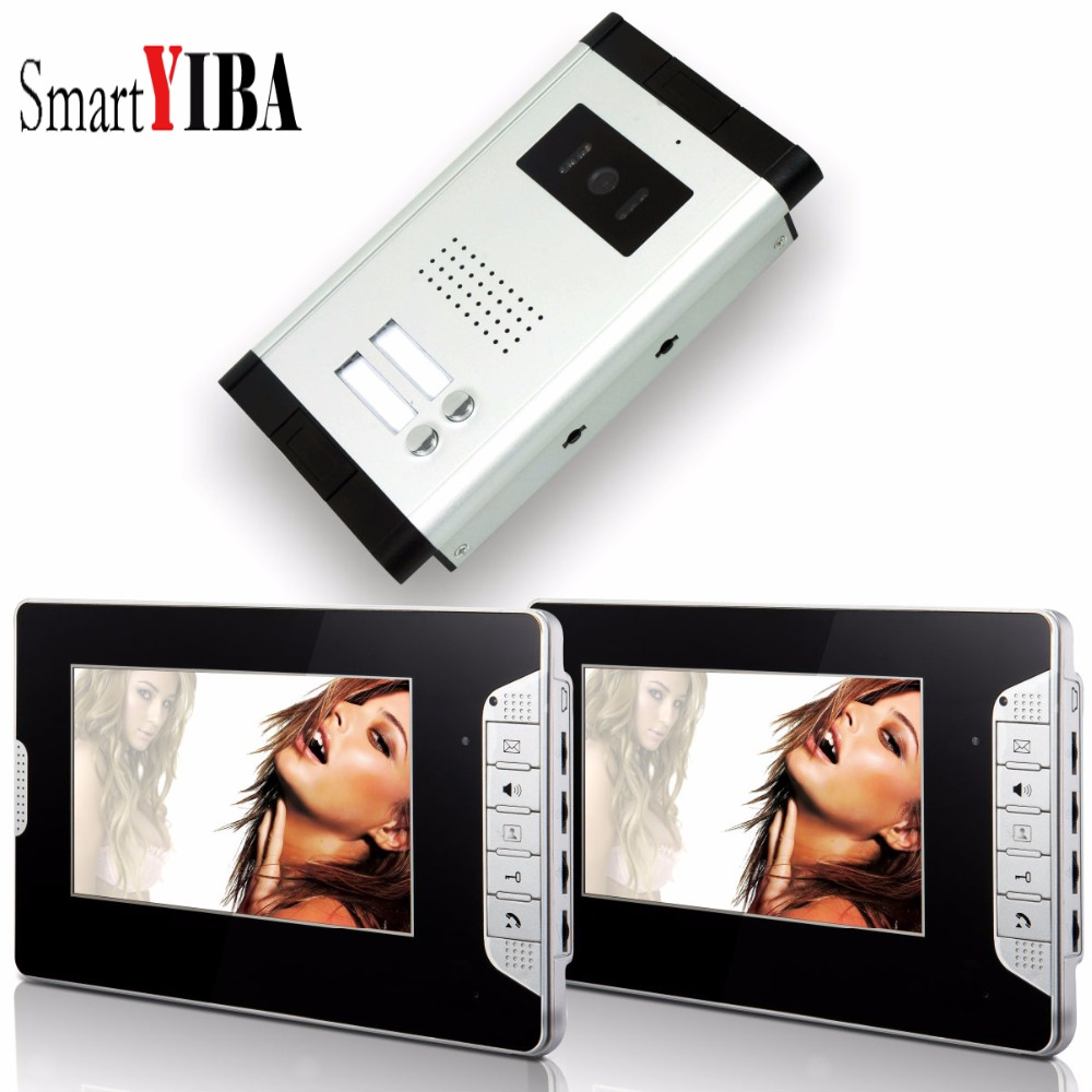 "SmartYIBA  7"" Home Entry Intercom Doorbell Kit For 2 Units Families Apartment Video Door Phone/Doorphone IR Camera Intercom"