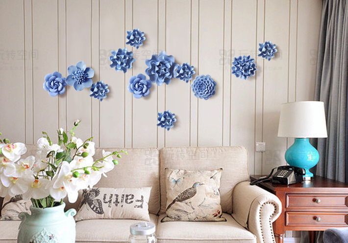1 PC Creative Pastoral Ceramic Flower Three Dimensional Wall Hanging Living  Room TV Background Wall Hanging Decoration In Wall Stickers From Home U0026  Garden ... Part 40