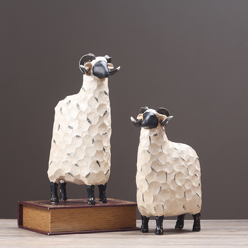 Abstract Sheep Couple Miniature Resin Ranch Animal Lovers Statues