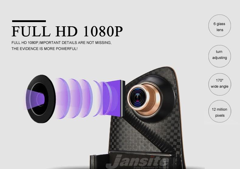 Jansite Car DVR Camera Review Mirror FHD 1080P Video Recorder Night Vision Dash Cam Parking Monitor Auto Registrar Dual Lens DVR 6