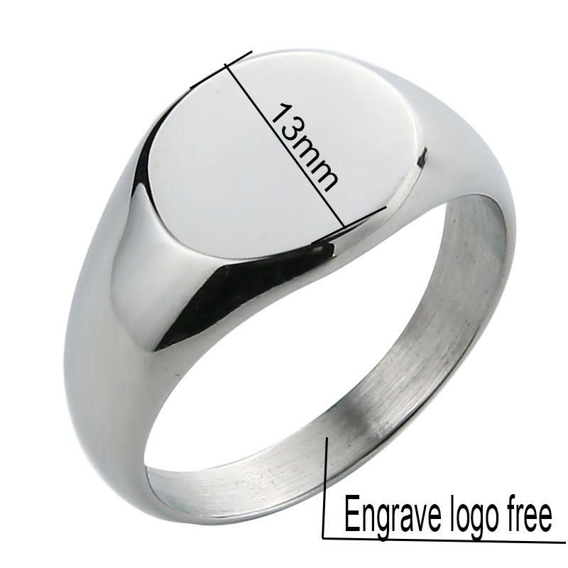 EdgLifU Men 39 s Simple Round 13mm Band Ring Fashion Polished Seal Ring for Women Stainless steel Signet Rings Jewelry Engrave Logo in Rings from Jewelry amp Accessories