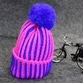 Fashion Korean Colorfull Stripe Knitted Hat Handmade Fluorescense Woolen Winter Beanie Hat Cap for Women Warm Bomber Earflap Hat