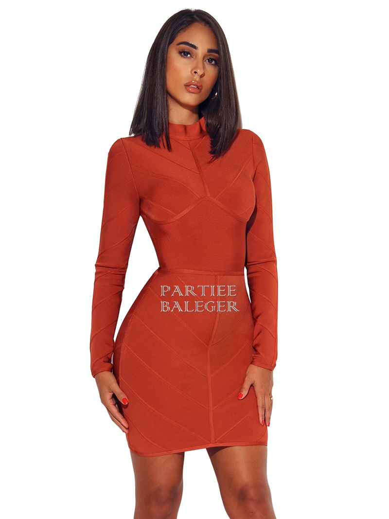 Robe Red Soirée Col Mini 2019 Nouveauté Manches Rouille Club Montant De Partie Célébrité Chic Longues Rust Lacée Rouge If6yYbgm7v