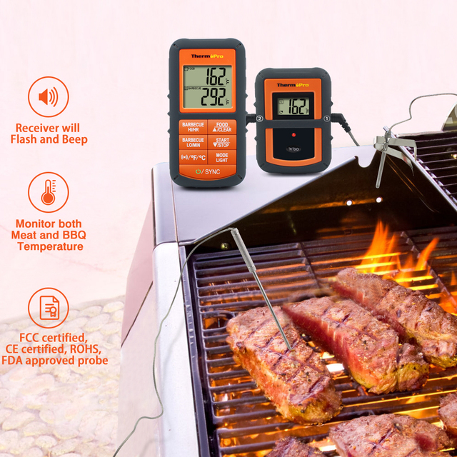 ThermoPro TP08 Wireless Remote Digital Kitchen Cooking Thermometer – Dual Probe for BBQ Smoker Grill Oven – Monitors Food / Meat
