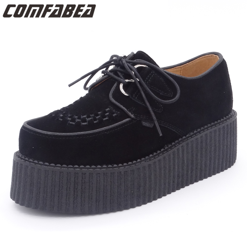 Autumn 2017 Men Shoes Casual Creepers Genuine Leather Casual Shoes Flat Platform Black Shoes Suede Platform Shoes Lace Up front lace up casual ankle boots autumn vintage brown new booties flat genuine leather suede shoes round toe fall female fashion
