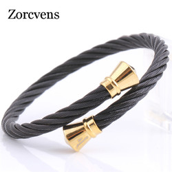 ZORCVENS 2020 New Fashion Stretch cable mesh Chain Bracelets Bangles for women Stainless Steel Jewelry
