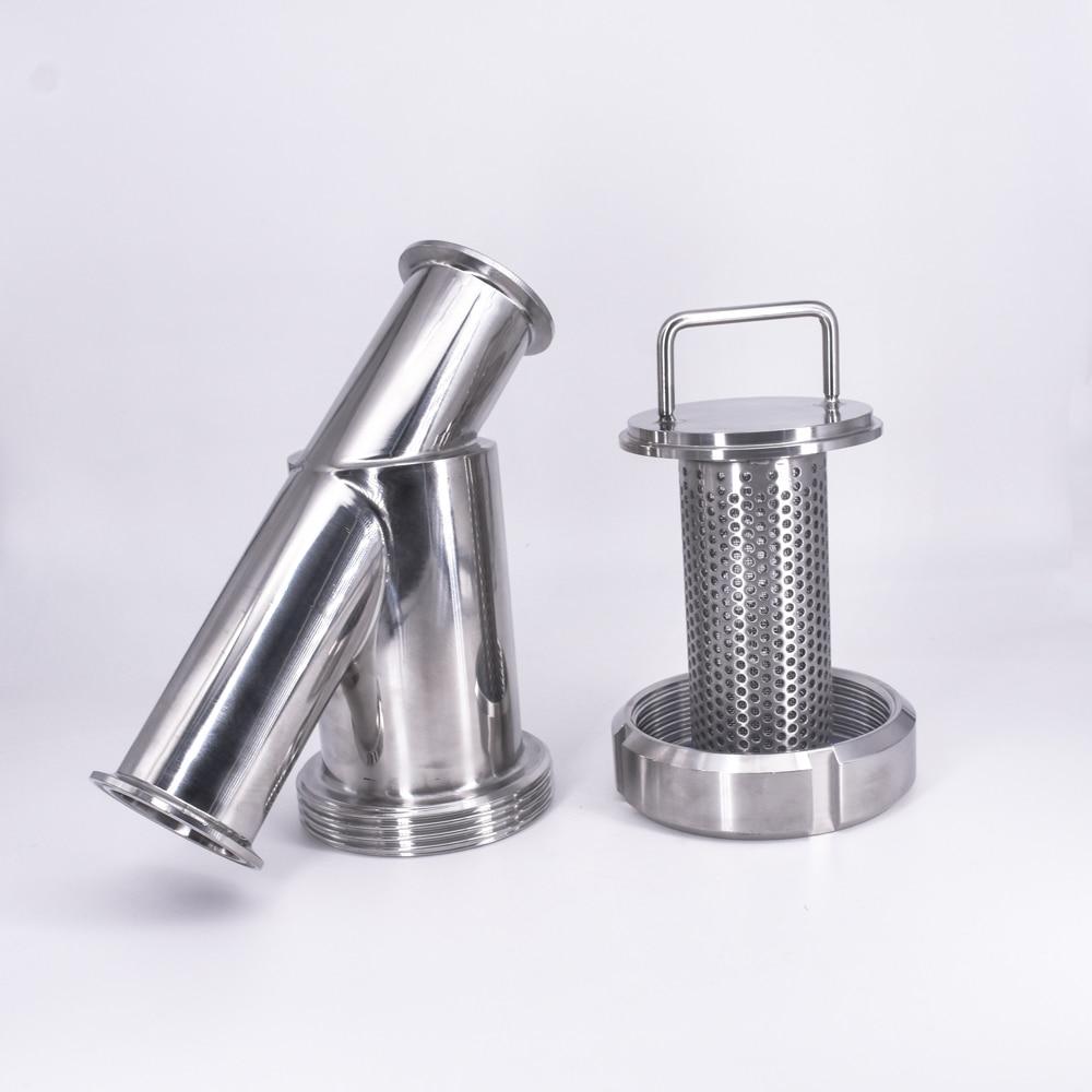 51mm Tuyau OD x 2 Tri Clamp Sanitaire Y En Forme de Passoire Filtre SUS 304 En Acier Inoxydable Pour brassage de la bière