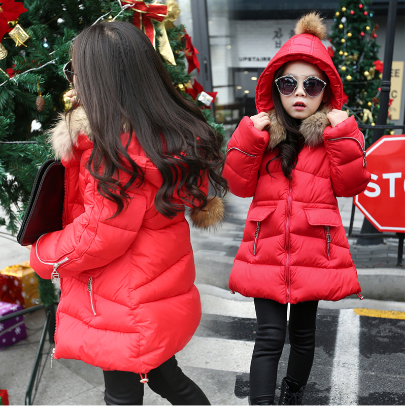 ФОТО 2017 Fashion Girls Winter Coat Children Kids Infant Outerwear Park Jackets Hooded Fur Collar Outdoor Warm Coat For Cold Winter
