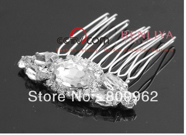 2012 New style 6pcs/lots factory price rhintestone crystal hair clip fashion crystal bridal jewelry wedding hair combs 110054