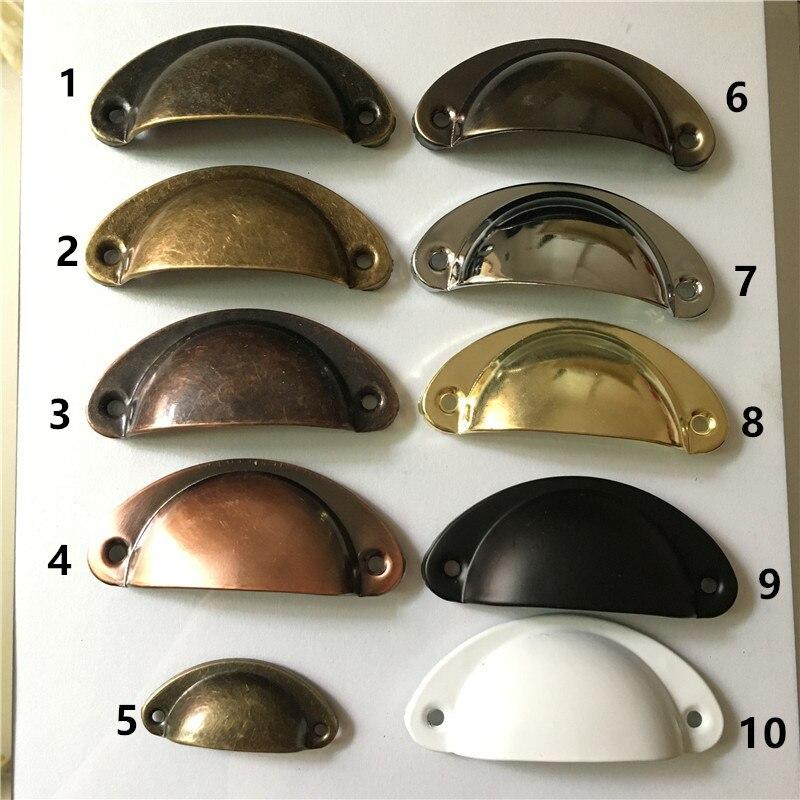1PC Metal Kitchen Drawer Cabinet Door Handle Half Round Furniture Knobs Hardware Cupboard Antique Iron Shell Pull Handles