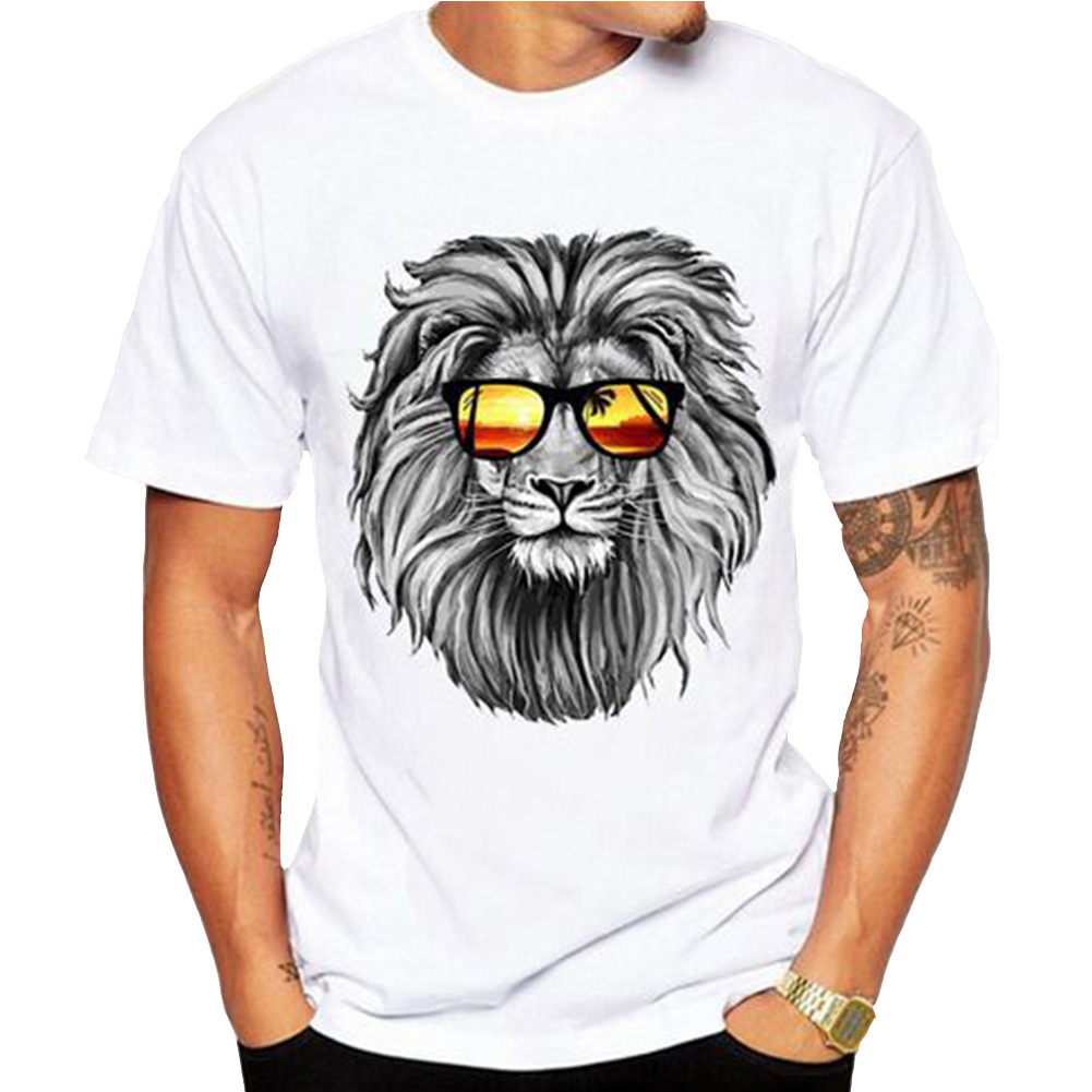 Men's Lastest 2018 Fashion Short Sleeve Lion Printed T-shirt Funny Tee Shirts Hipster O-neck Cool Tops