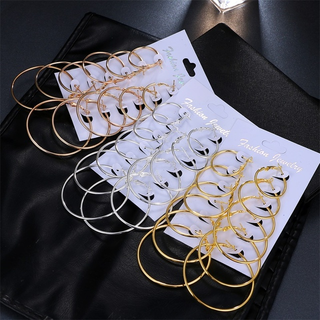 גדול זהב גדול מעגל עגילי זהב כסף רוז זהב נקבה רטרו steampunk אוזן קליפ חתונה תכשיטי מתנה 6 pairs/sets