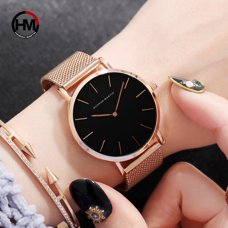 Japan Quartz Movement High Quality 36mm hannah Martin Women Stainless Steel Mesh Rose Gold Waterproof Ladies Watch Dropshipping dropshipping fashion stainless steel rose gold