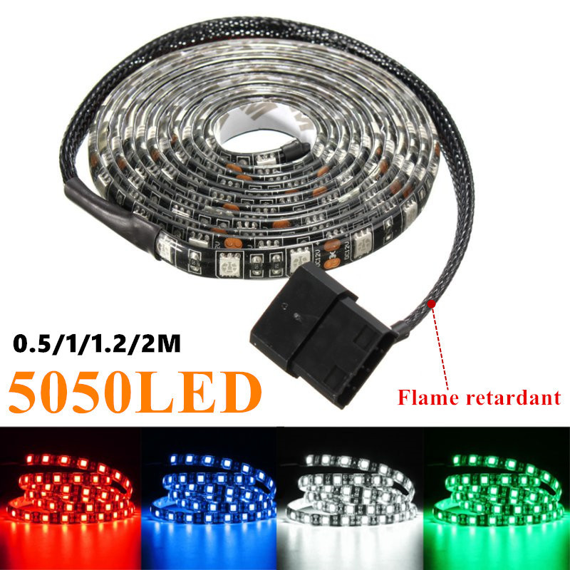 50/100/120/200cm 5050 LED Waterproof Flexible Strip Background Light PC Computer Case Adhesive Strip Light DC12V