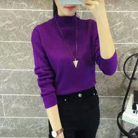 Brand New Fall Winter 2018 Female Korean Long Sleeved Pullover Sweater Color All Match Slim Bottoming