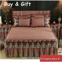 Sanding cotton material 3pcs pure color lace edge bedskirt sets thickened bedspread and pillowcases high quality bed cover