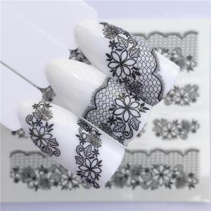 Image 3 - YZWLE 2020 קיץ חדש תחרה פרח עיצוב נייל מדבקת מדבקות העברת מים לבן שחור טיפים נשים איפור קעקועים