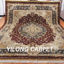 YILONG 10'x14′ handmade turkey large silk rug blue and red medallion luxury exquisite carpet handknotted (ML003A10x14)