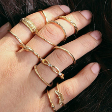17FR Bohemian Rings Set For Women Retro Crystal Flower Knuckle Ring Statement Female Jewelry Gift Wholesale