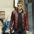 2016 New PU Leather Jacket Men Black Red Brown Solid Mens Faux Fur Coats Trend Slim Motorcycle Suede Jacket Male M-3XL