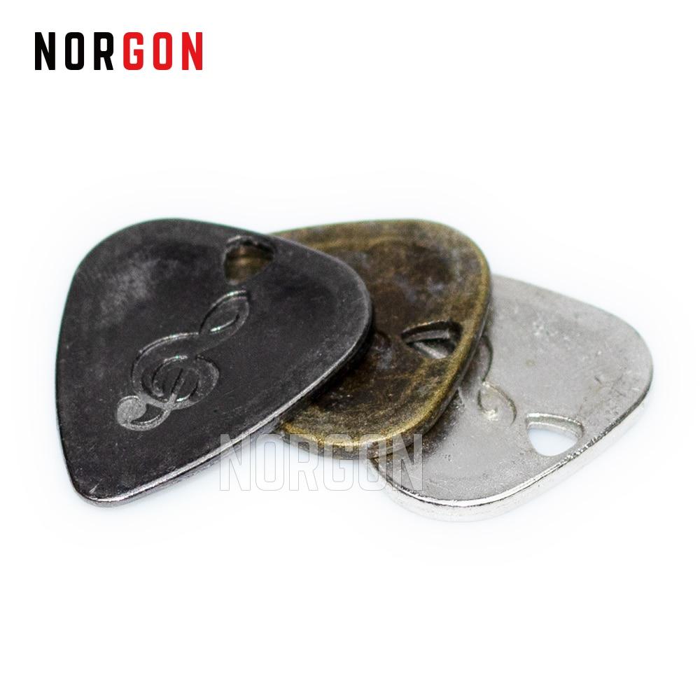 Norgon Metal Guitar Picks Durable Stainless Steel Thin Mediator Guitarra Acoustic Electric Guitar Bass Rock