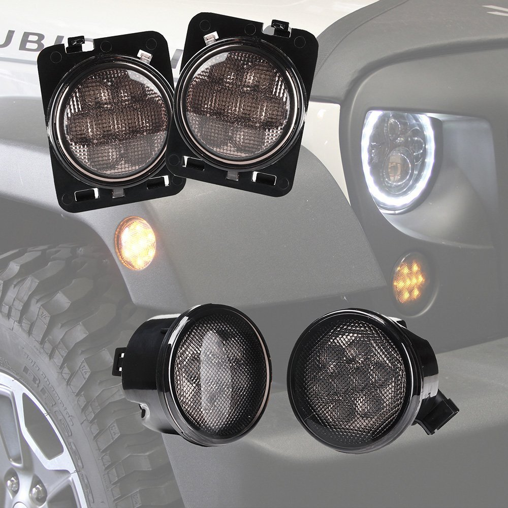 Combo for 2007-2015 Jeep Wrangler JK Smoke Lens Amber LED Front Turn Signal Light + Fender Side Marker Parking Lamp 4pcs black led front fender flares turn signal light car led side marker lamp for jeep wrangler jk 2007 2015 amber accessories