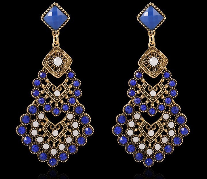 2015 New Antique Gold Plated Vintage Rhinestone Chandelier Statement Women  Fashion Big Long Dangle Indian Earrings - Popular Rhinestone Chandelier-Buy Cheap Rhinestone Chandelier Lots
