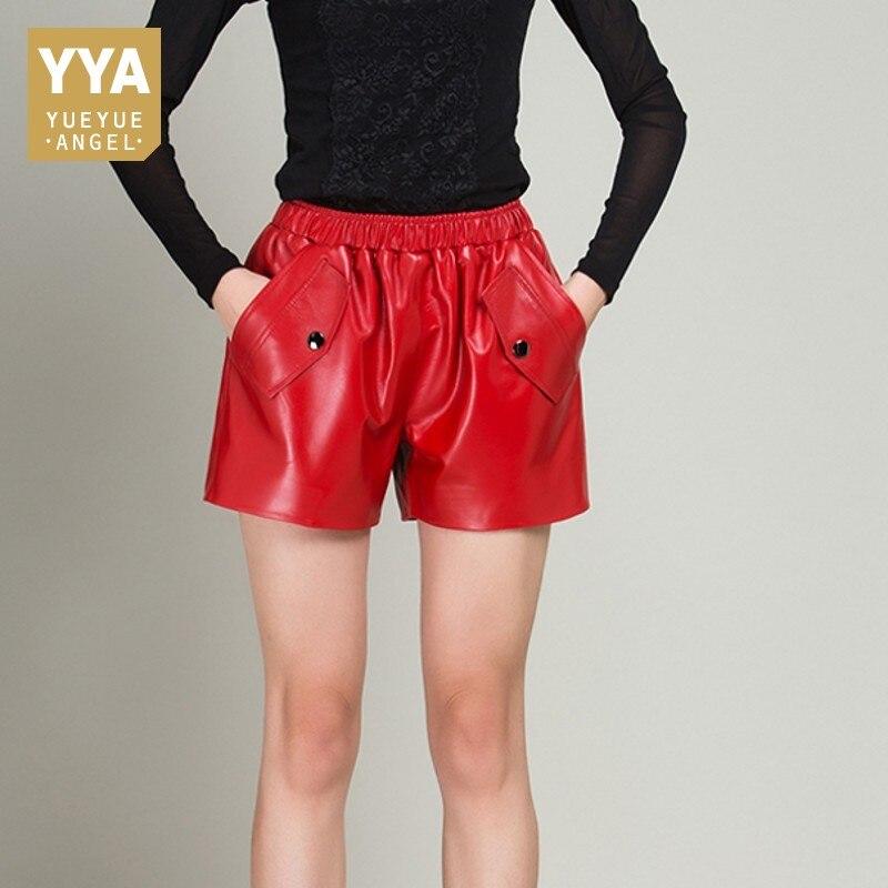 High Quality Comfort Female Shorts Sheepskin Leather Elastic Waist Casual Trousers Straight OL Korean Fashion Woman Red Pantalon