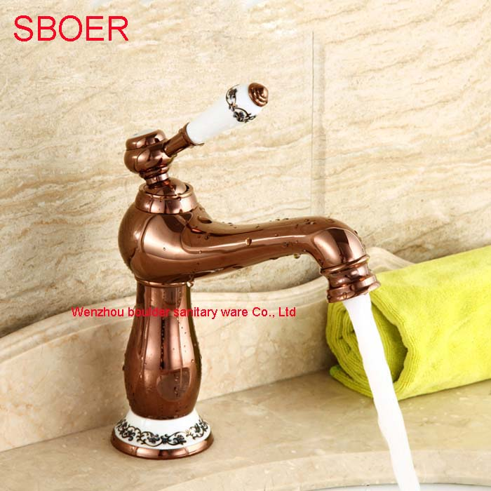 Charming Blue and white Brass Copper with Single Handle Bathroom Basin Rose gold faucet, Deck Mounted Hot and cold Water Tap
