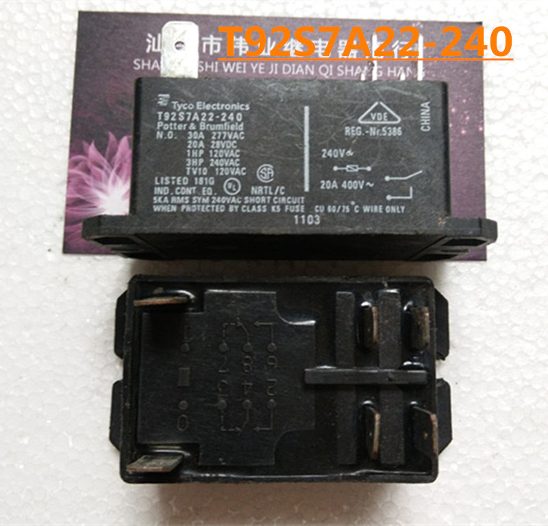 T92S7A22-240 T92S7A22-24 T92S7A22-120 375 P 3PDT EN60947-4- Power Relay