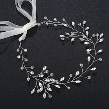 Girls Fashion Headband Headdress Jewelry Wedding Bridal Hair Vine Ribbon Bridesmaid Crystal