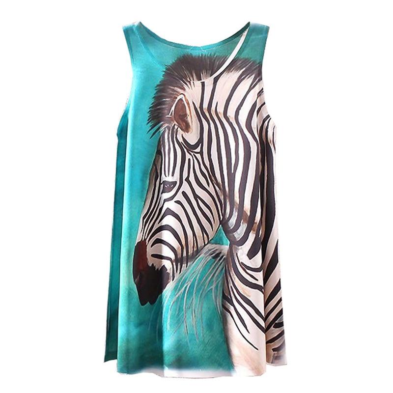 KaiTingu 2016 Brand New Fashion Summer Women Girl Sleeveless Digital Graphic Zebra Print Long T Shirt Tee Blouse Vest Tank Tops