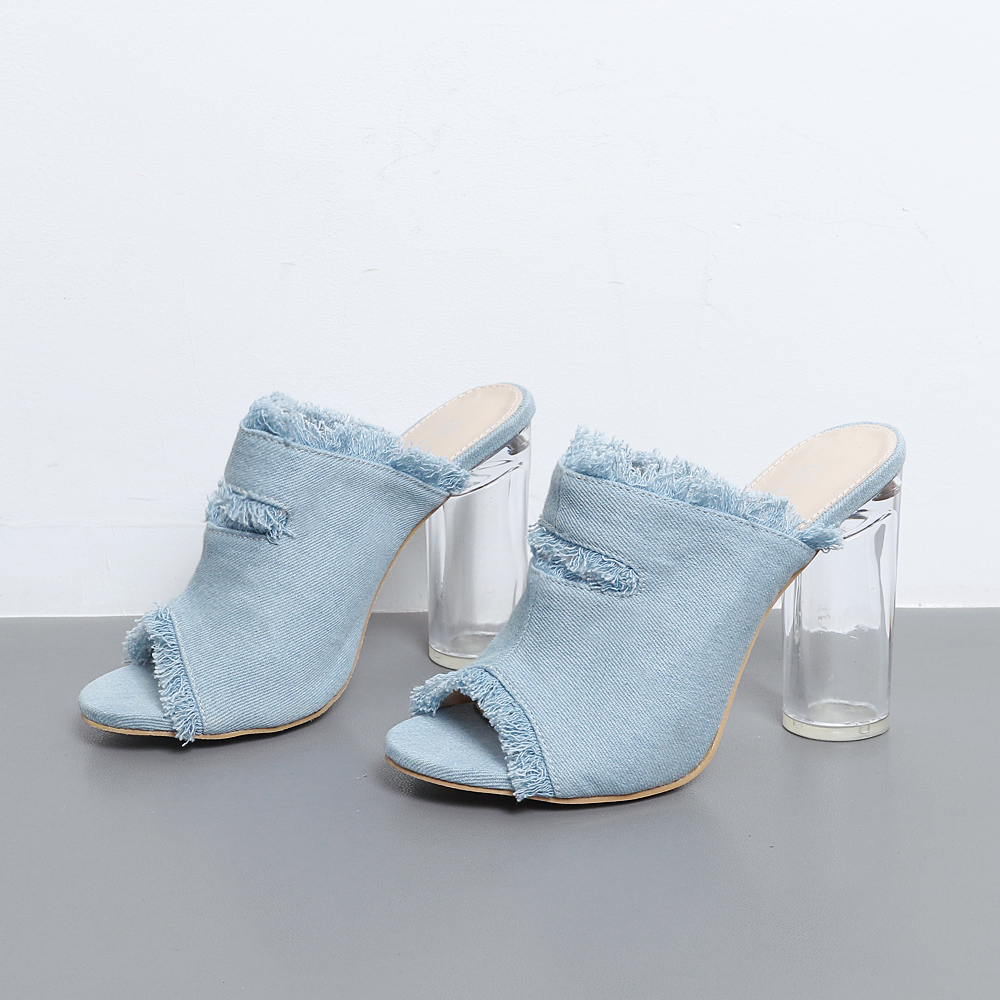 d9cf9706a0a Demin Peep Toe Mules Women Fringe 10 CM Clear High Heel Slides Summer Slip  On Slippers Transparent Shoes-in Slippers from Shoes on Aliexpress.com