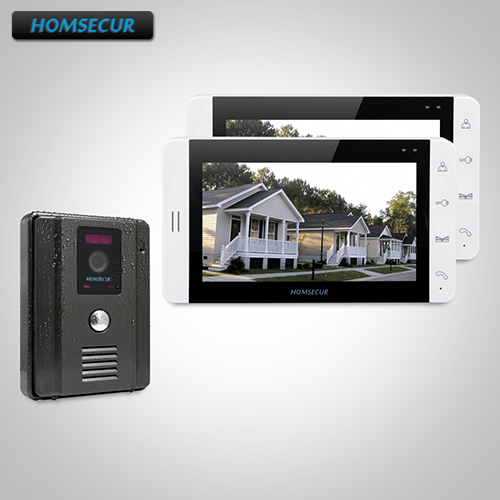 HOMSECUR 7 Video Door Entry Phone Call System+White Monitor for House/Flat 1C2M TC011-B Camera (Black)+TM703-W Monitor (White)