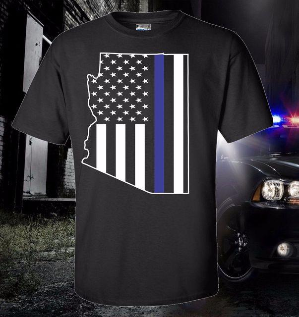 4468bfc704922e 2019 горячая Распродажа, 100% хлопок, Аризона, тонкая Голубая линия, флаг,  полиция, правоприменительная футболка, США Америка, Феникс, футболка