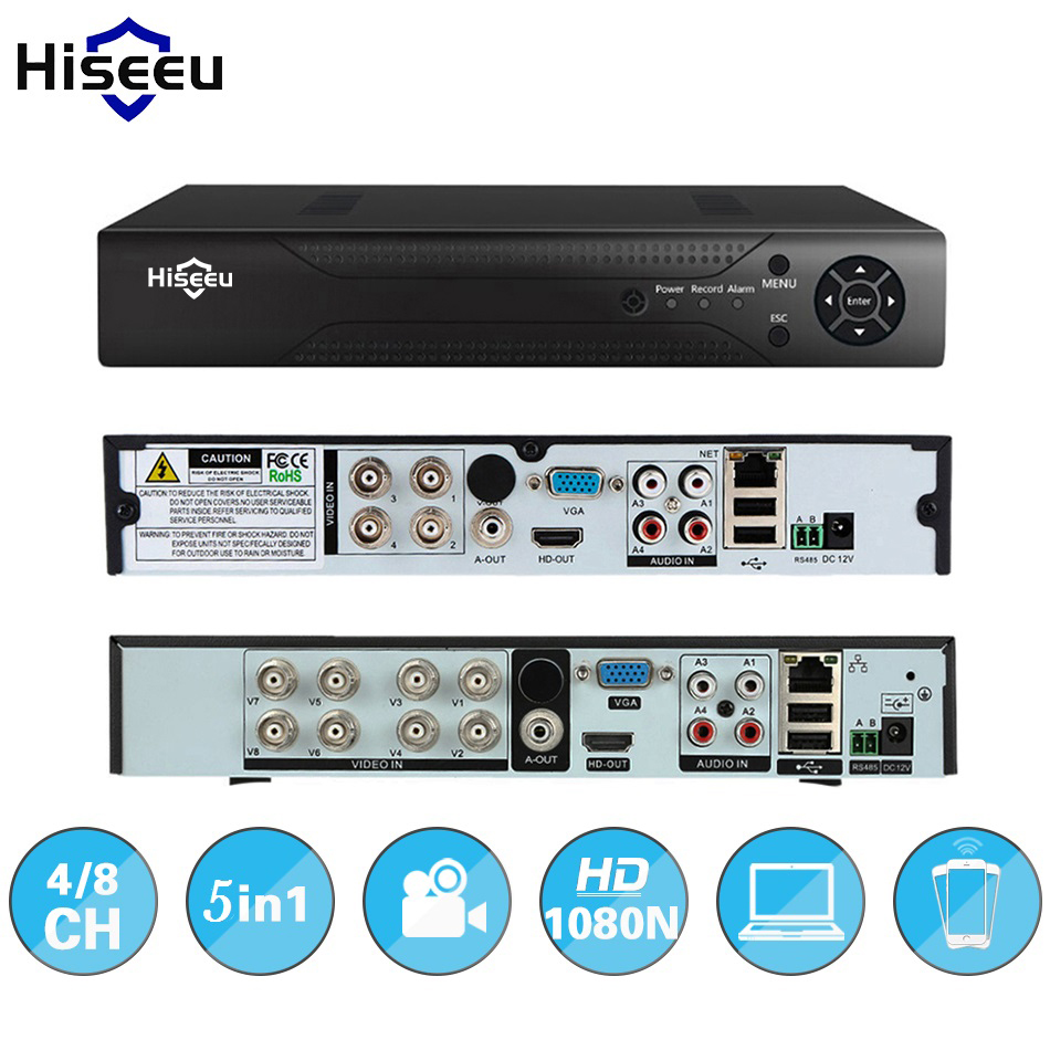Hiseeu 4CH 8CH 1080P 5 in 1 DVR video recorder for AHD camera analog camera IP