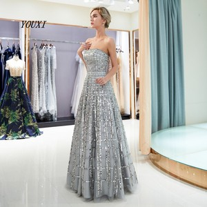 Image 4 - Luxury Bling Bling Sliver Prom Dresses 2020 A Line Strapless New Formal Long Evening Gowns vestidos de graduacion