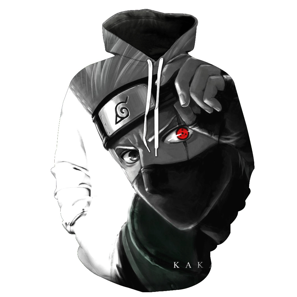 Drop shipping Cartoon Naruto 3d Anime Hatake Kakashi Hoodie Sweatshirt Men Women Outerwear casual Pullovers Jacket Asian size