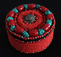 TJB907チベット手縫っ赤ジュエリーボックス模擬石ビーズケース無料