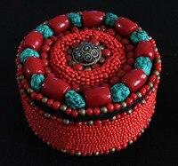 TJB907 Tibetischen hand Genäht Roten schmuckschatulle Simulierten Stein Perlen Fall Freies schiff
